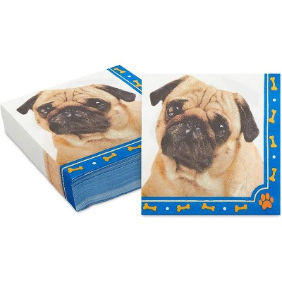 Sparkle and Bash 150 Pack Pug Disposable Luncheon Paper Napkins for Dog Birthday Party Decorations 6.5 in