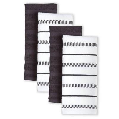 """KitchenAid 4pk 16""""X26"""" Albany Strpe Kitchen Towels Brown/White"""
