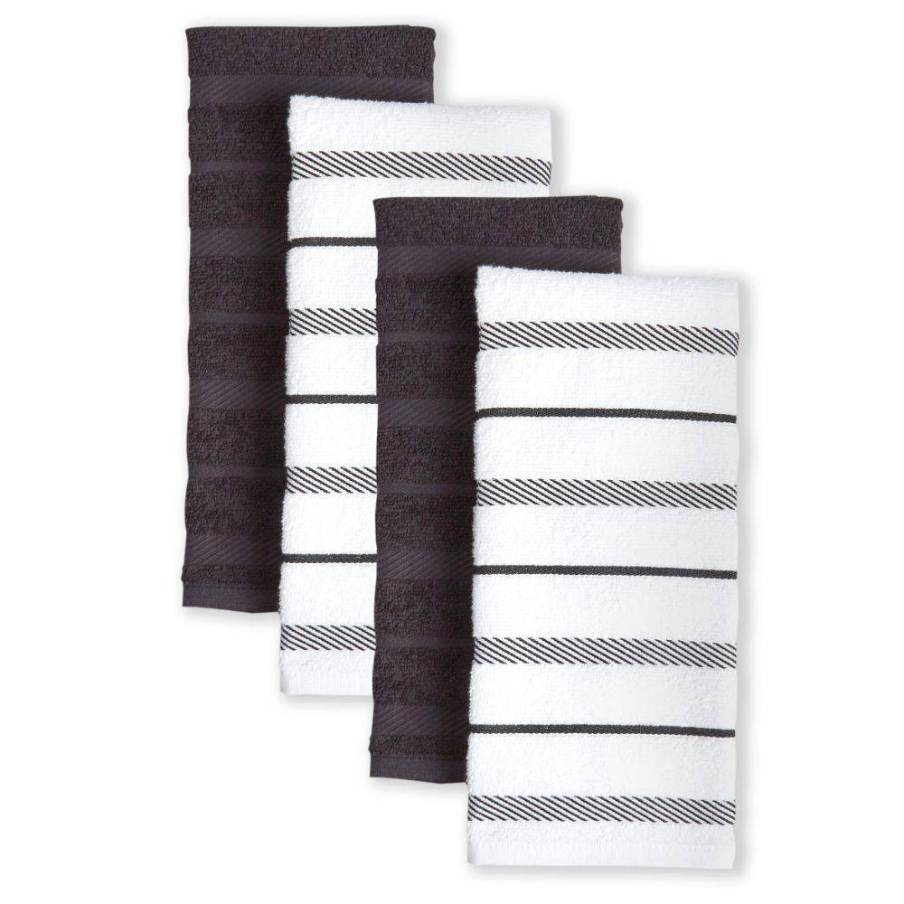"Image of ""KitchenAid 4pk 16""""X26"""" Albany Strpe Kitchen Towels Brown/White"""