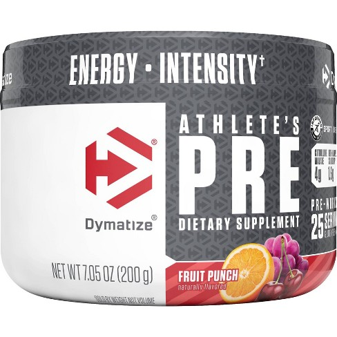 Dymatize Athlete's Pre Workout Dietary Supplements - Fruit Punch - 7.05oz - image 1 of 3