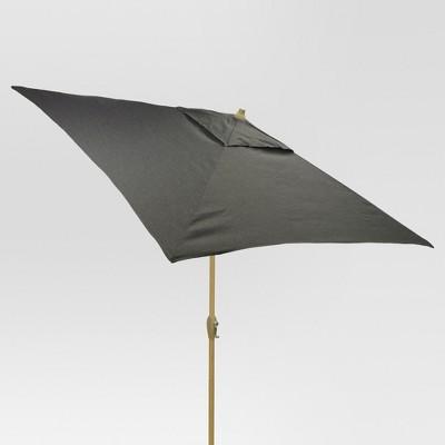 6.5' Square Umbrella - Charcoal - Light Wood Finish - Threshold™