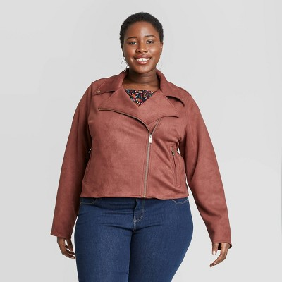 Women's Plus Size Suede Moto Jacket - Ava & Viv™