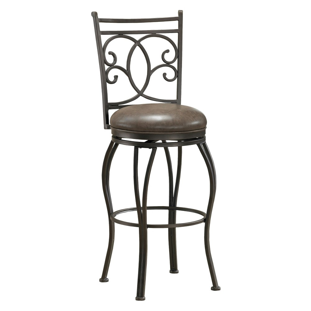 """Image of """"26"""""""" Nadia Swivel Bonded Leather Counter Stool Metal/Coco - American Heritage Billiards, Brown"""""""