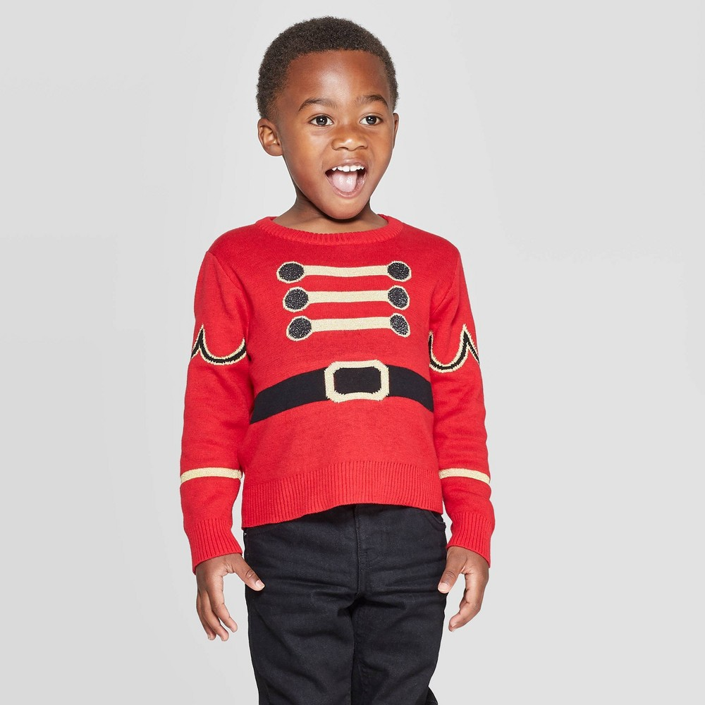 Image of Toddler Boy Soldier Ugly Holiday Pullover Sweater - Red 2T, Men's