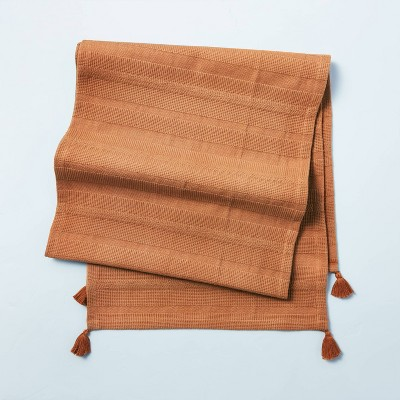 Ribbed Corner Tassels Oversized Table Runner Pumpkin Brown - Hearth & Hand™ with Magnolia