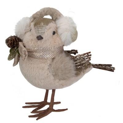 "Northlight 6"" Beige and White Plush Bird in Earmuffs Christmas Figure"