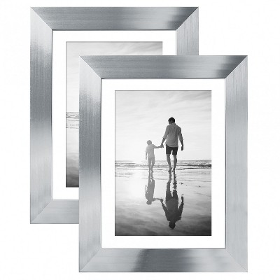 """Americanflat Picture Frame - Made of MDF / Polished Glass with Easel Stand & Horizontal and Vertical Formats - 5"""" x 7"""" - Pack of 2"""