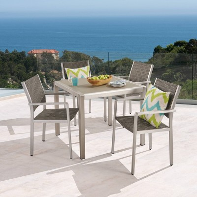 Cape Coral 5pc Aluminum & Wicker Patio Dining Set - Silver/Gray - Christopher Knight Home