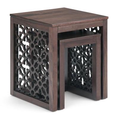 "2pc 17"" Caleb Nesting Table Cinnamon - WyndenHall"