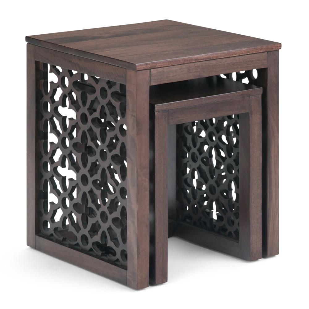 "Image of ""17"""" 2pc Caleb Nesting Table Cinnamon - Wyndenhall, Red"""
