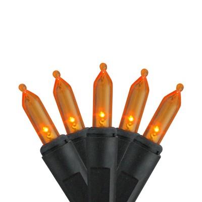 "Brite Star Set of 50 Orange LED Mini Halloween Lights 4"" Bulb Spacing - Black Wire"