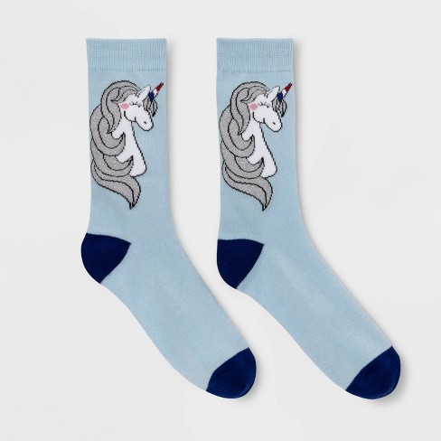 Women's Sparkly Unicorn Crew Socks - Light Blue 4-10 - image 1 of 1
