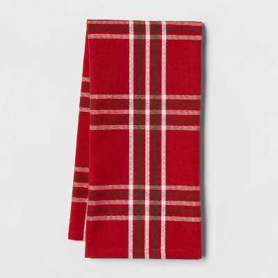 Cotton Yarndye Classic Plaid Kitchen Towel Red - Threshold™