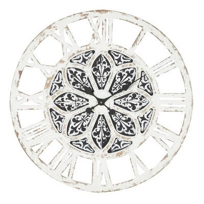 """28""""x 28"""" Large Round Distressed Wood Wall Clock with Patterned Center Detail Black/White - Olivia & May"""