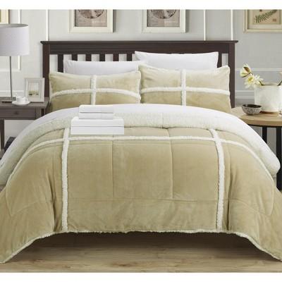 Chic Home Camille Mink Chloe Sherpa Soft Microfiber Comforter Sheet Set Bed In A Bag 7 Piece - Camel