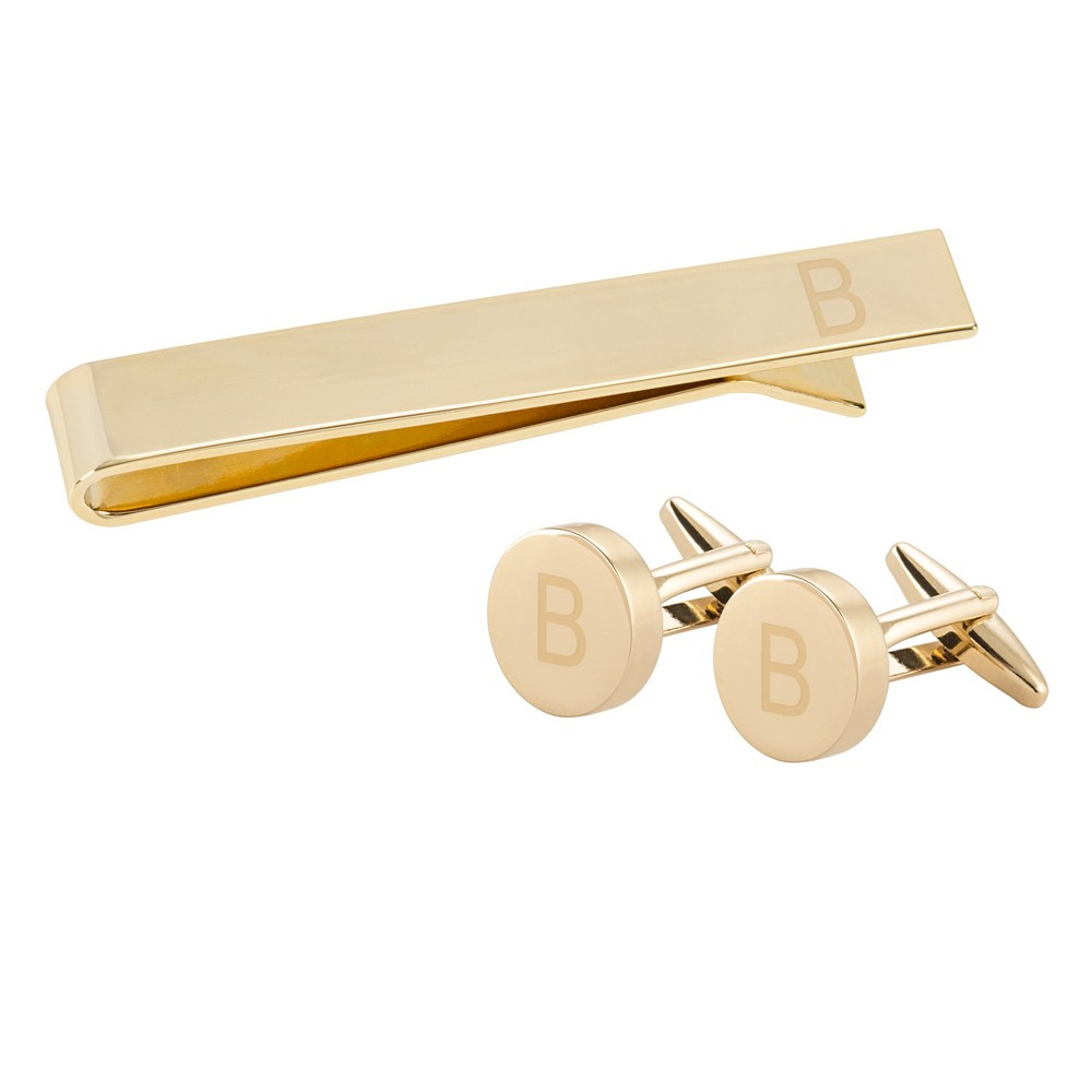 "Image of """"""B"""" Personalized Round Cuff Link and Tie Clip Set Gold, Men's"""