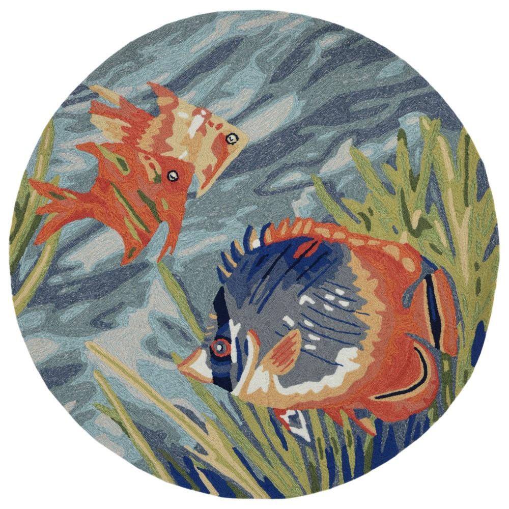 5' Fish Round Area Rug Blue - Liora Manne