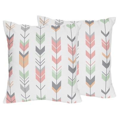 Coral & Mint Mod Arrow Throw Pillow - Sweet Jojo Designs®