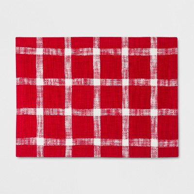 19 x14  Slub Windowpane Plaid Placemat Red/White - Threshold™