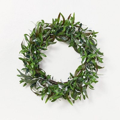 """26"""" Artificial Olive Leaves Wreath Green - Threshold™ designed with Studio McGee"""