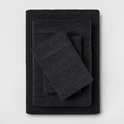 King Solid Cosy Jersey Sheet Set Charcoal - Threshold™