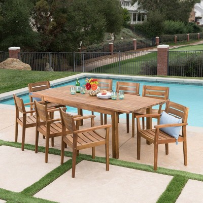 Wilson 9pc Acacia Wood Dining Set with Expandable Dining Table - Teak - Christopher Knight Home