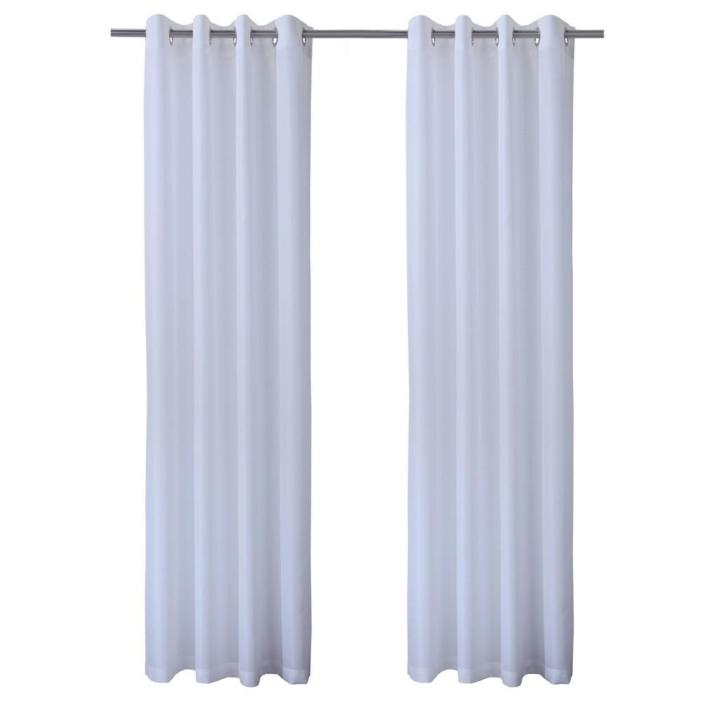 Set Of 2 84 34 X50 34 Bimini Grommet Top Curtain Panels White Outdoor D 233 Cor