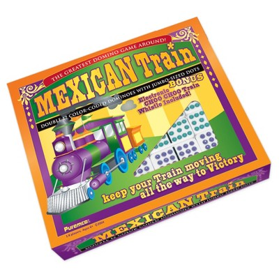Puremco Mexican Train Double 12 Color Dot Dominoes - Professional Size Game