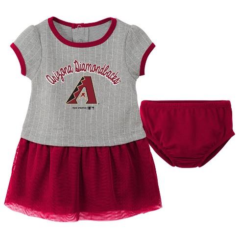 MLB Baby & Toddler Girls' Pinstriped Short Sleeve Dress & Bloomer Set - Gray - image 1 of 2