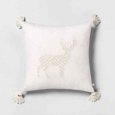 Deer Embroidered Toss Pillow Tonal Cream With Tassels   Hearth & Hand™ With Magnolia by Hearth & Hand With Magnolia