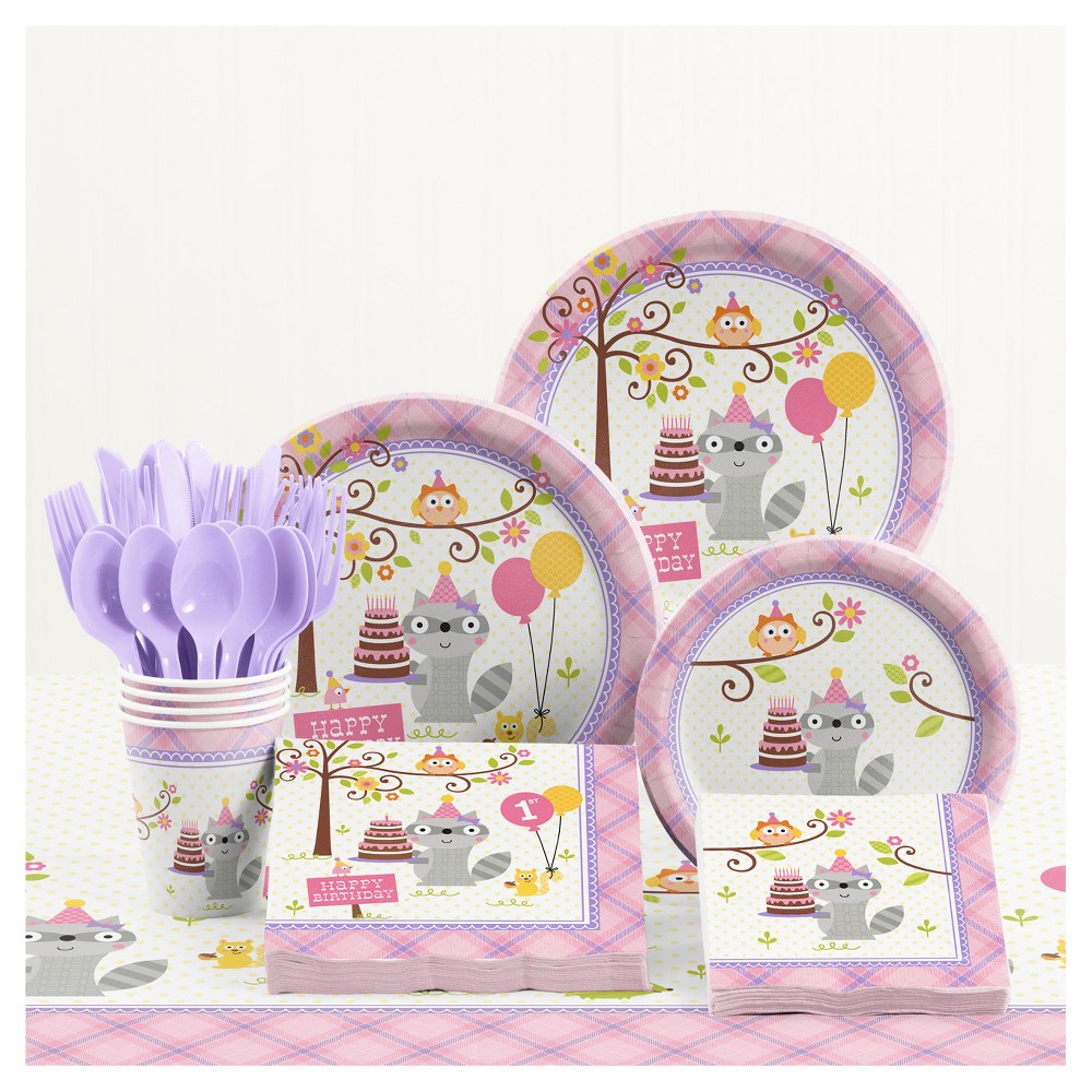 Happi Woodland Girl 1st Birthday Party Supplies Kit, Multi-Colored