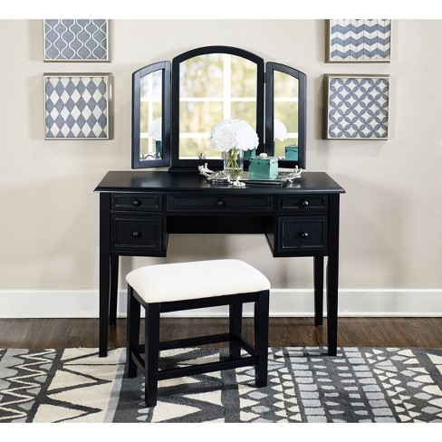 Simone Vanity Mirror Bench Antique Black Powell Company Target