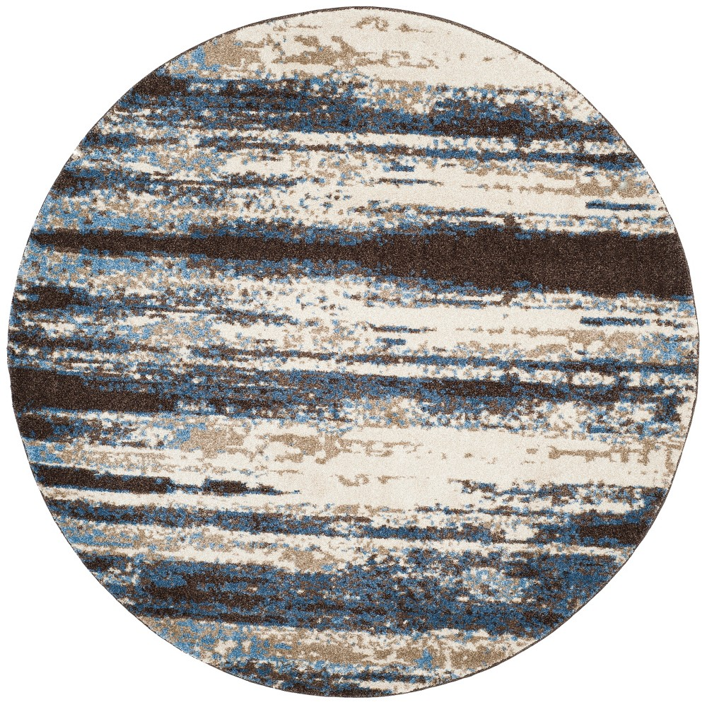 4 Stripe Loomed Round Area Rug Cream Blue Safavieh