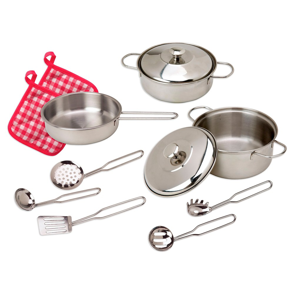 Alex Toys Super Cooking Set Alex Toys Super Cooking Set includes everything your little chef needs to prepare fancy meals. Measure, mix, stir and serve with this cooking set designed for pretend play only. This set encourages little ones to use their imagination and cook invisible or play food. Pretend play is great for developing the imagination, enhancing creativity and encouraging social skills in young children. Includes pasta pot with lid, stock pot with lid, frying pan, slotted spoon, spatula, ladle, pasta ladle and spoon, and 2 pot holders. Recommended for children 3 years of age and older. Gender: Unisex.