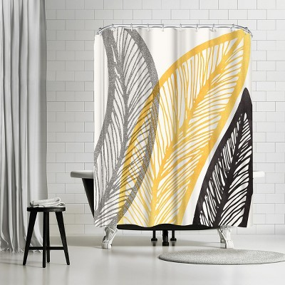 "Americanflat Bold Leaf Print by Modern Tropical 71"" x 74"" Shower Curtain"