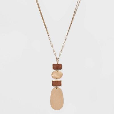 Semi-Precious with Wavy Metal Pendant Necklace - Universal Thread™