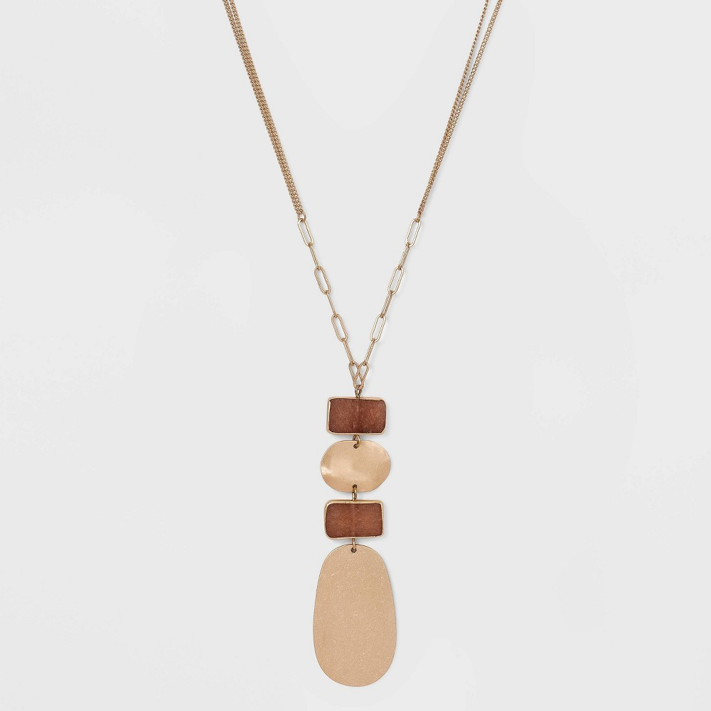 Semi Precious Dyed Pink Moonstone With Wavy Metal Pendant Necklace Universal Thread 8482 Pink