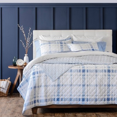 Bartlett Plaid Cotton Percale Quilt Set - Martha Stewart