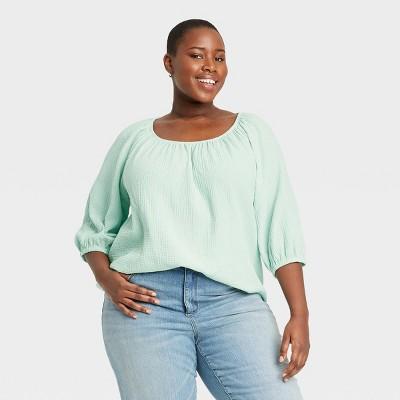 Women's Plus Size 3/4th Sleeve Blouse - Ava & Viv™