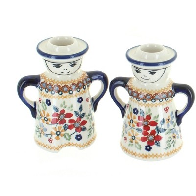 Blue Rose Polish Pottery Red Daisy Lady & Man Candle Holders
