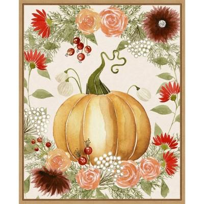 """16"""" x 20"""" Autumn I Pumpkin by Grace Popp Framed Canvas Wall Art Red - Amanti Art"""