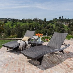 Salem 3pc Wicker Patio Adjustable Chaise Lounge Set  - Christopher Knight Home