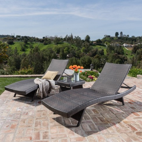 Thira 3pc Wicker Chaise Lounge Set Mocha - Christopher Knight Home - image 1 of 4