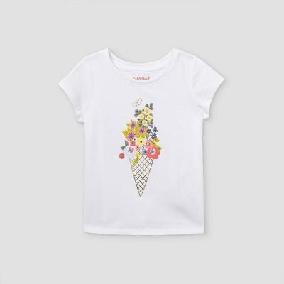 Toddler Girls' Floral Ice Cream Short Sleeve T-Shirt - Cat & Jack™ White