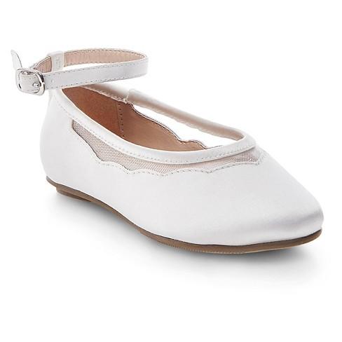 Toddler Girls' Jamie Satin Ballet Flats - Tevolio™ White 5 - image 1 of 3