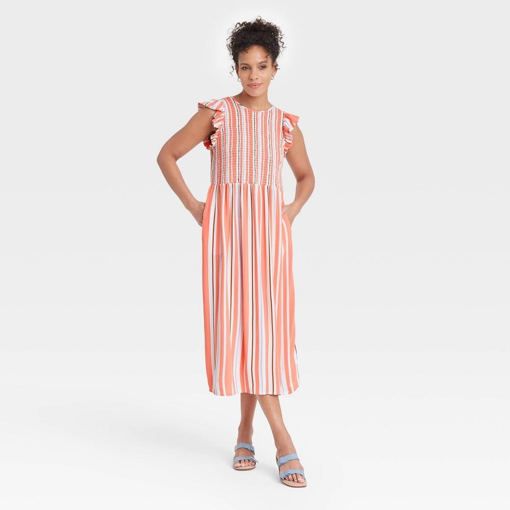 Women 39 S Striped Sleeveless Smocked Dress A New Day 8482 Orange Xl