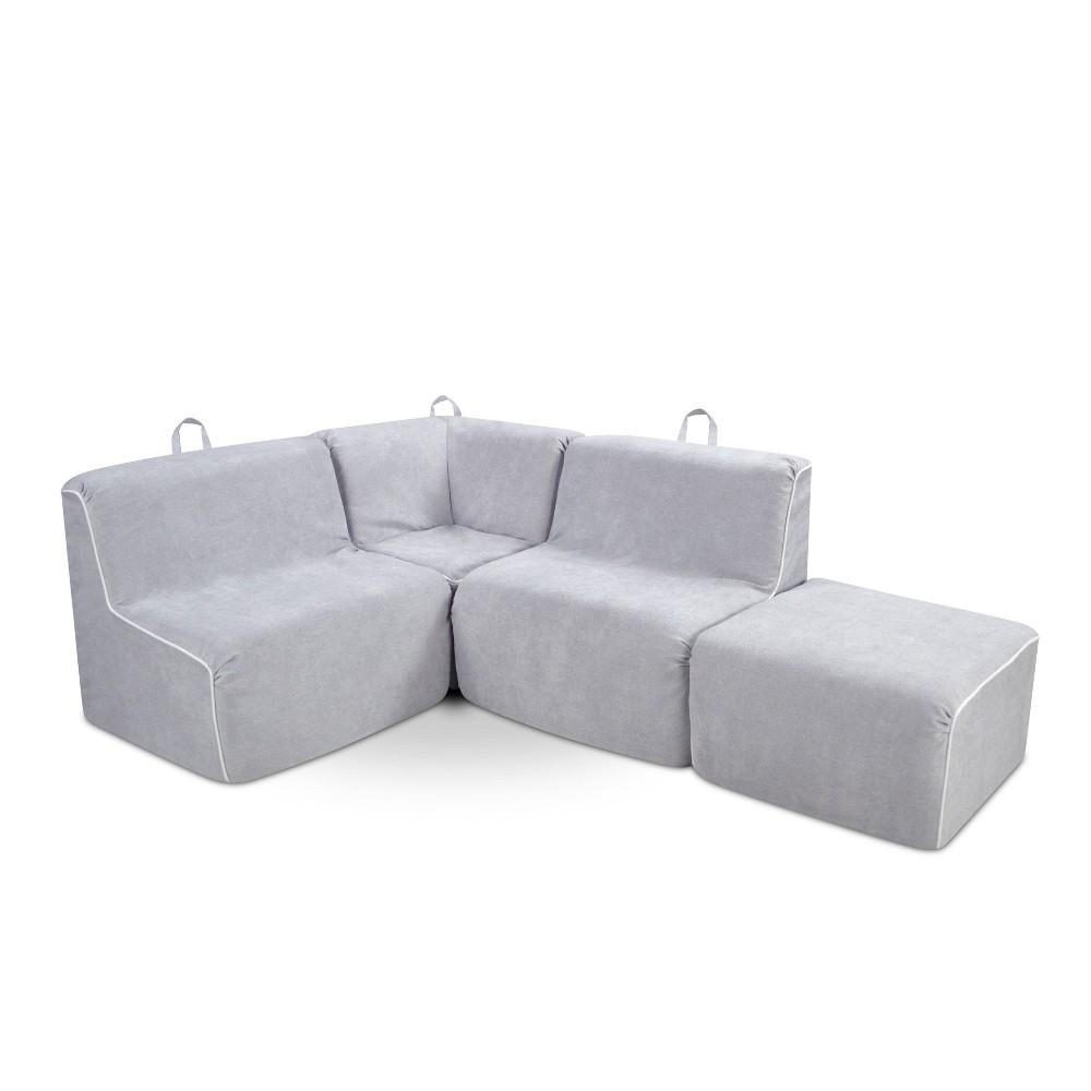 Image of 4pc Kid's Foam Sectional Set Gray - Kangaroo Trading Company