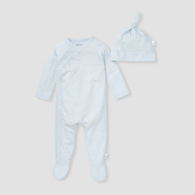 Burt's Bees Baby® Baby Boys' Dotted Jacquard Striped Jumpsuit with Knot Top Hat Set - Blue 0-3M