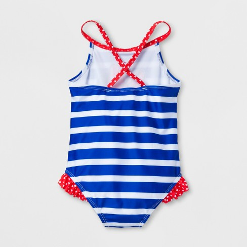 5ea8fd50d9114 Toddler Girls  Disney Minnie Mouse One Piece Swimsuit - Navy   Target