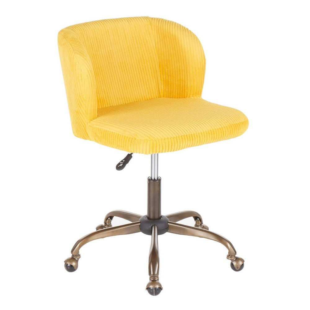 Fran Contemporary Task Chair Corduroy Yellow Lumisource